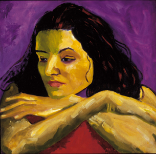 """Sandra Cisneros"", Oil, 20″x20″ Chicana Writer Series"