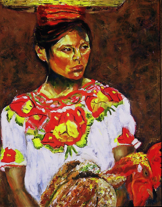 "Young Girl with Rooster"", Oil, 24″x36″ SOLD"