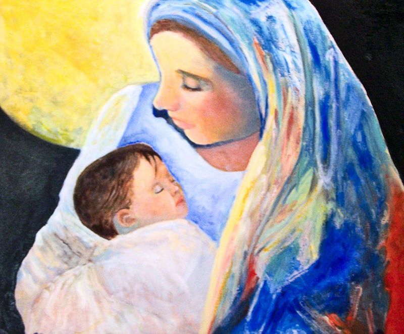 "Blessed Mother with Baby Jesus ( 20""×24"" ), $925.00"