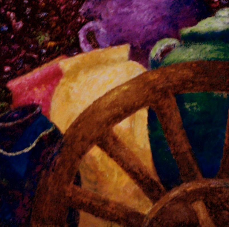 "WAGON WHEEL AND POTTERY....OIL ""21 X 21""......$950.00"