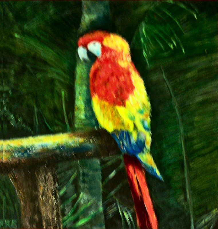 A JEWEL IN THE JUNGLE....OIL.....$250.00
