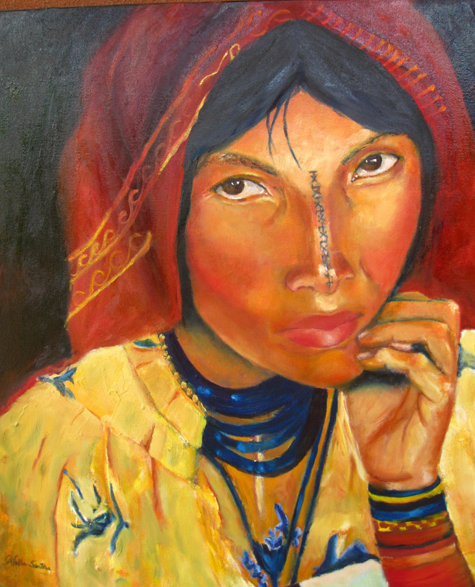 "KOGI WOMAN IN YELLOW....OIL 30"" X30""......$2900.00"
