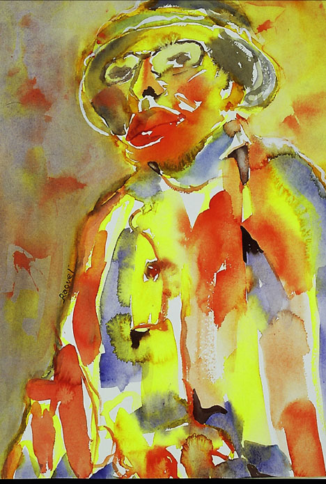 """Jazz Man"" Watercolor 19.5"" X 13.5"" $350.00"
