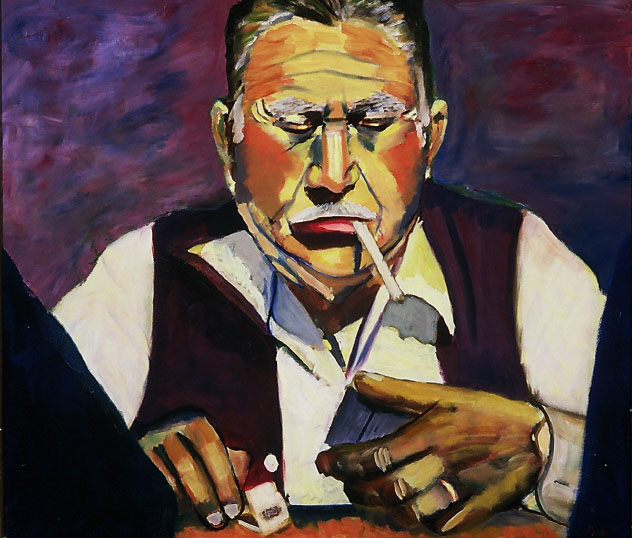 """The Domino Player"", Oil, 24″x36″ $1,200.00"